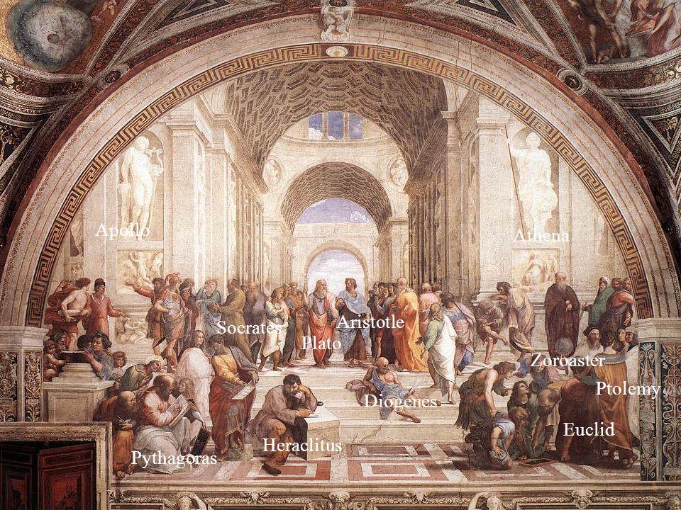 Apollo Pythagoras Socrates Plato Aristotle Diogenes Heraclitus Athena Ptolemy Euclid Zoroaster