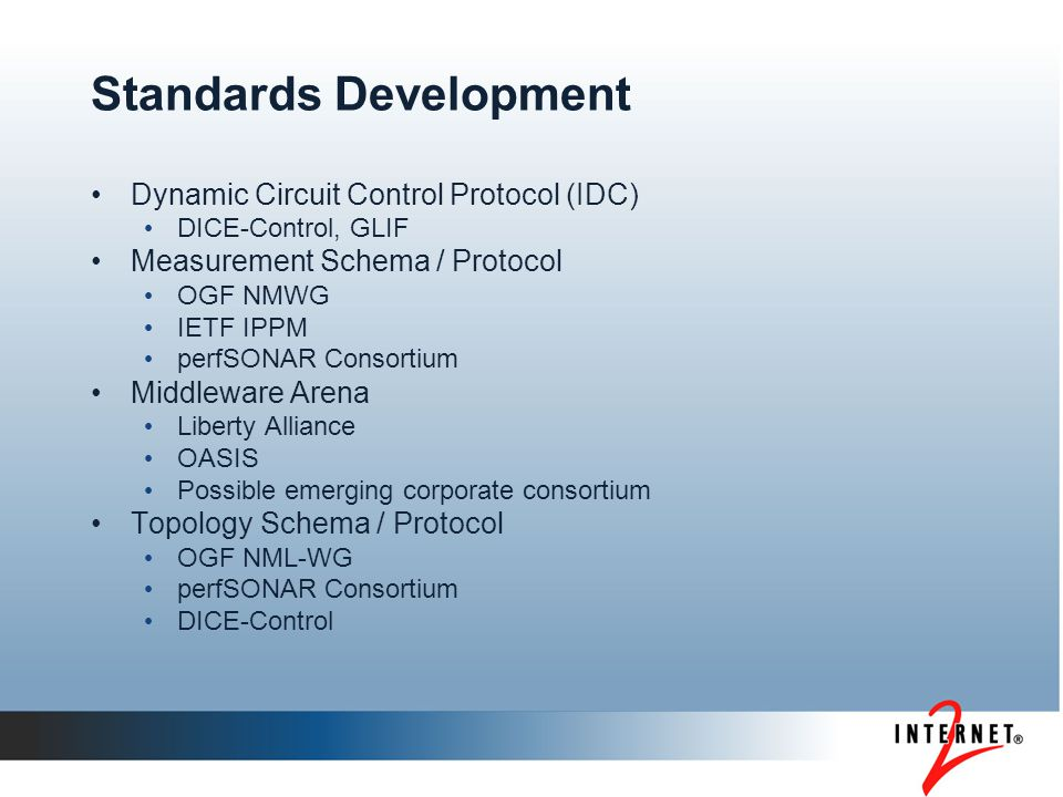 Standards Development Dynamic Circuit Control Protocol (IDC) DICE-Control, GLIF Measurement Schema / Protocol OGF NMWG IETF IPPM perfSONAR Consortium Middleware Arena Liberty Alliance OASIS Possible emerging corporate consortium Topology Schema / Protocol OGF NML-WG perfSONAR Consortium DICE-Control