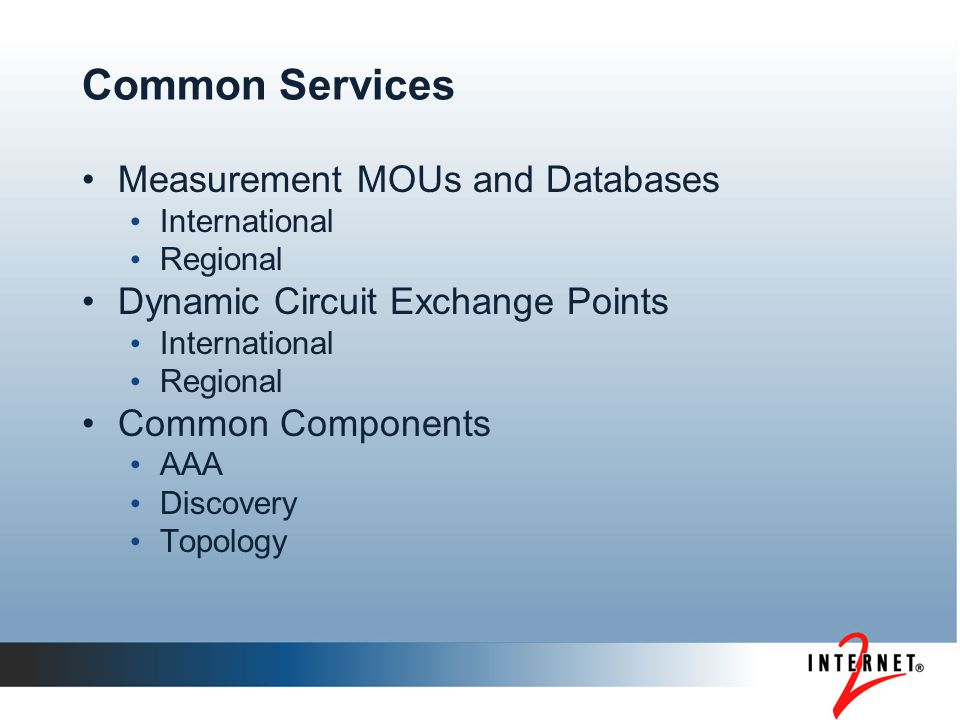 Common Services Measurement MOUs and Databases International Regional Dynamic Circuit Exchange Points International Regional Common Components AAA Discovery Topology