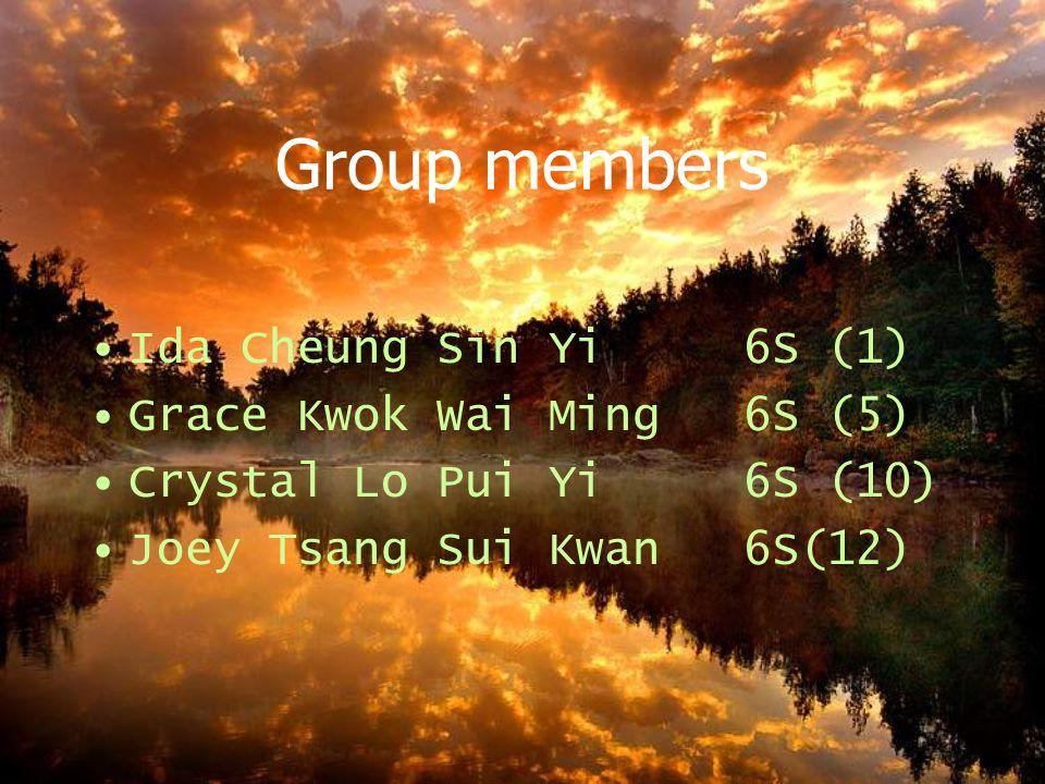 Group members Ida Cheung Sin Yi 6S (1) Grace Kwok Wai Ming 6S (5) Crystal Lo Pui Yi 6S (10) Joey Tsang Sui Kwan 6S(12)