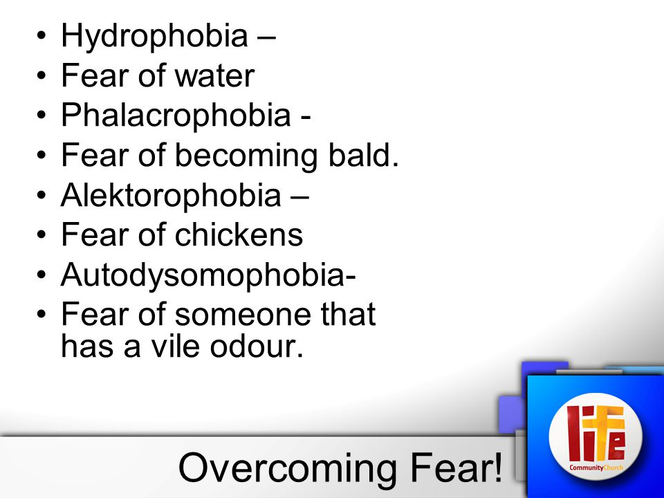 Hydrophobia – Fear of water Phalacrophobia - Fear of becoming bald. Alektorophobia – Fear of chickens Autodysomophobia- Fear of someone that has a vil