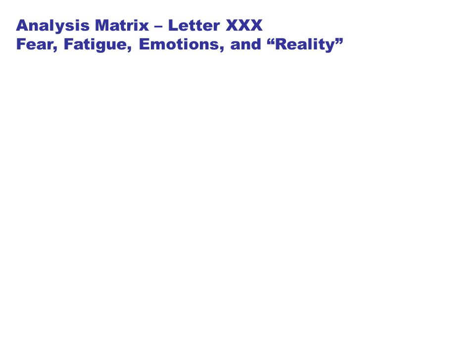 "Analysis Matrix – Letter XXX Fear, Fatigue, Emotions, and ""Reality"""