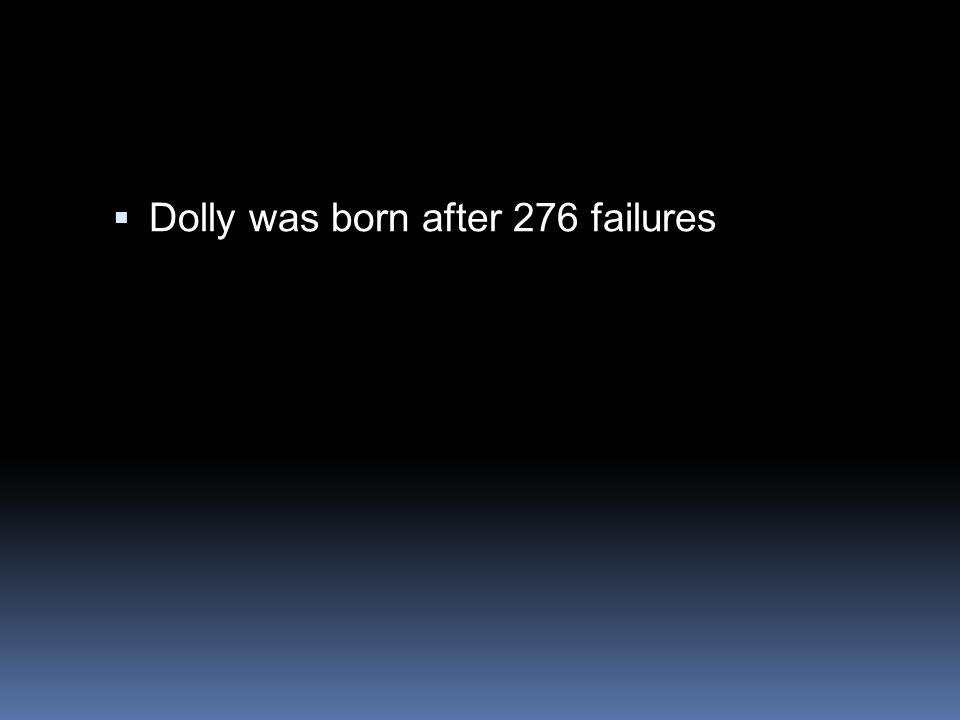  Dolly was born after 276 failures