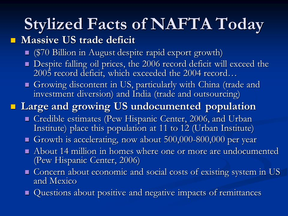 Stylized Facts of NAFTA Today Massive US trade deficit Massive US trade deficit ($70 Billion in August despite rapid export growth) ($70 Billion in August despite rapid export growth) Despite falling oil prices, the 2006 record deficit will exceed the 2005 record deficit, which exceeded the 2004 record… Despite falling oil prices, the 2006 record deficit will exceed the 2005 record deficit, which exceeded the 2004 record… Growing discontent in US, particularly with China (trade and investment diversion) and India (trade and outsourcing) Growing discontent in US, particularly with China (trade and investment diversion) and India (trade and outsourcing) Large and growing US undocumented population Large and growing US undocumented population Credible estimates (Pew Hispanic Center, 2006, and Urban Institute) place this population at 11 to 12 (Urban Institute) Credible estimates (Pew Hispanic Center, 2006, and Urban Institute) place this population at 11 to 12 (Urban Institute) Growth is accelerating, now about 500,000-800,000 per year Growth is accelerating, now about 500,000-800,000 per year About 14 million in homes where one or more are undocumented (Pew Hispanic Center, 2006) About 14 million in homes where one or more are undocumented (Pew Hispanic Center, 2006) Concern about economic and social costs of existing system in US and Mexico Concern about economic and social costs of existing system in US and Mexico Questions about positive and negative impacts of remittances Questions about positive and negative impacts of remittances