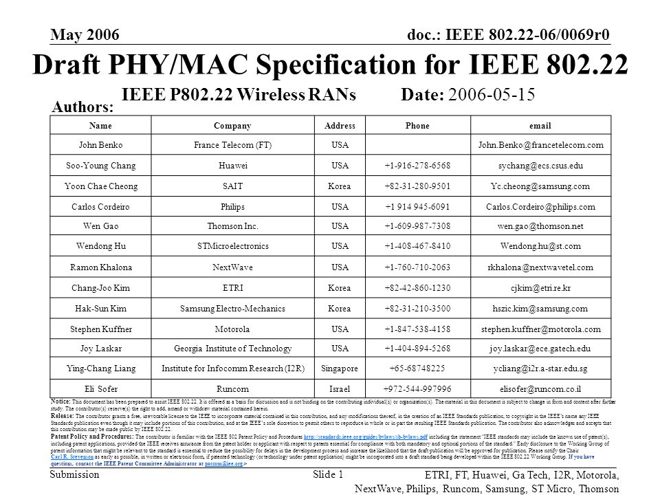 doc.: IEEE 802.22-06/0069r0 Submission ETRI, FT, Huawei, Ga Tech, I2R, Motorola, NextWave, Philips, Runcom, Samsung, ST Micro, Thomson May 2006 Slide 22 Frame Element Definitions Preamble – synchronization, channel estimation –Long training sequence and optional short training sequence –There's also an upstream burst preamble FCH – frame control header, info on size of DS- and US- MAP and channel descriptors (PHY characteristics) MAPs – resource scheduling info for user bursts Ranging – timing offset, power adjustment UCS – urgent coexistence situation, incumbent detection report BW Request – self-explanatory SSS - sliding self-coexistence slots – used by coexistence beacon to improve coexistence with neighbors BCH – burst control header for upstream – ID information