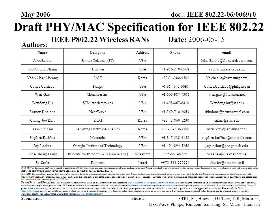 doc.: IEEE 802.22-06/0069r0 Submission ETRI, FT, Huawei, Ga Tech, I2R, Motorola, NextWave, Philips, Runcom, Samsung, ST Micro, Thomson May 2006 Slide 2 Co-Author(s): NameCompanyAddressPhoneemail Paul PigginCygnus Myung-Sun SongETRIKorea+82-42-860-5046mssong@etri.re.kr Soon-Ik JeonETRIKorea+82-42-860-5947sijeon@etri.re.kr Gwang-Zeen KoETRIKorea+82-42-860-4862gogogo@etri.re.kr Sung-Hyun HwangETRIKorea+82-42-860-1133shwang@etri.re.kr Bub-Joo KangETRIKorea+82-42-860-5446kbj64370@etri.re.kr Chung Gu KangETRIKorea+82-2-3290-3236ccgkang@korea.ac.kr KyungHi ChangETRIKorea+82-32-860-8422khchang@inha.ac.kr Yun Hee KimETRIKorea+82-31-201-3793yheekim@khu.ac.kr Moon Ho LeeETRIKorea+82-63-270-2463moonho@chonbuk.ac.kr HyungRae ParkETRIKorea+82-2-300-0143hrpark@mail.hangkong.ac.kr Martial BellecFrance TelecomFrance+33 2 99 12 48 06Martial.Bellec@francetelecom.com Denis CallonnecFrance TelecomFrance+33-4-76-764412Denis.Callonnec@francetelecom.com Luis EscobarFrance TelecomFrance+33-2-45-294622Luis.Escobar@francetelecom.com Francois MarxFrance TelecomFrance+33-4-76-764109Francois.Marx@francetelecom.com Patrick PiratFrance TelecomFrance+33-2-99-124806Ppirat.ext@francetelecom.com Kyutae Lim Georgia Institute of Technology USA+1-404-385-6008ktlim@ece.gatech.edu Youngsik Hur Georgia Institute of Technology USA+1-404-385-6008yshur @ece.gatech.edu