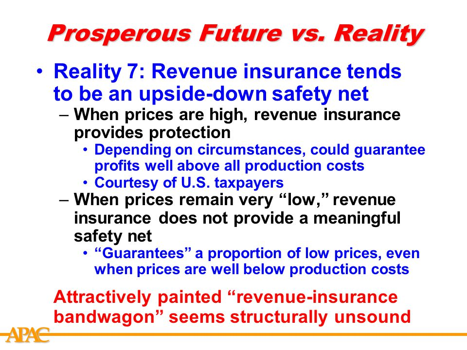 APCA Prosperous Future vs. Reality Reality 7: Revenue insurance tends to be an upside-down safety net –When prices are high, revenue insurance provide