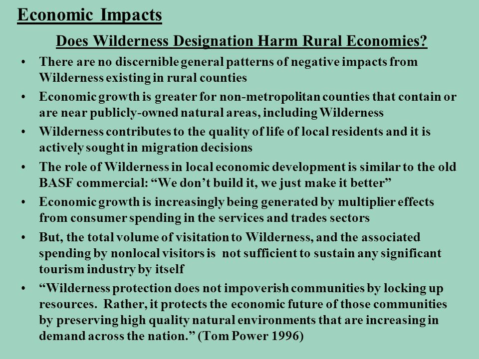 Does Wilderness Designation Harm Rural Economies? There are no discernible general patterns of negative impacts from Wilderness existing in rural coun