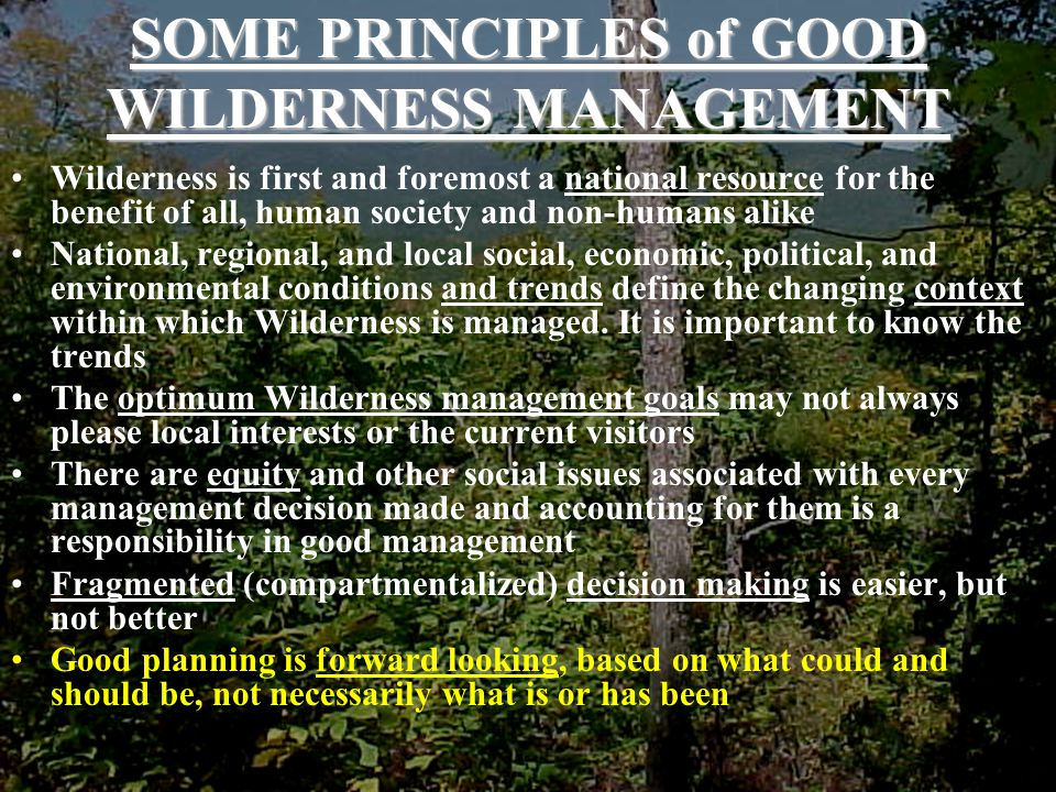 SOME PRINCIPLES of GOOD WILDERNESS MANAGEMENT Wilderness is first and foremost a national resource for the benefit of all, human society and non-humans alike National, regional, and local social, economic, political, and environmental conditions and trends define the changing context within which Wilderness is managed.