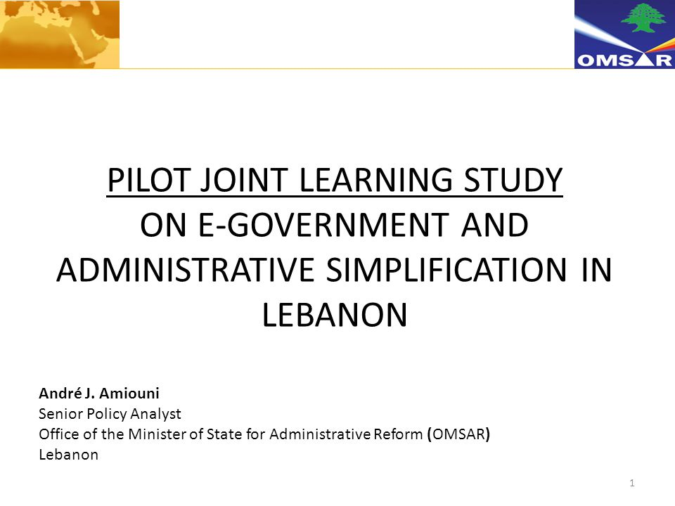 1 PILOT JOINT LEARNING STUDY ON E-GOVERNMENT AND ADMINISTRATIVE SIMPLIFICATION IN LEBANON André J.