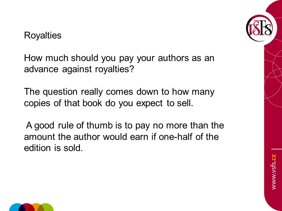 Royalties How much should you pay your authors as an advance against royalties? The question really comes down to how many copies of that book do you