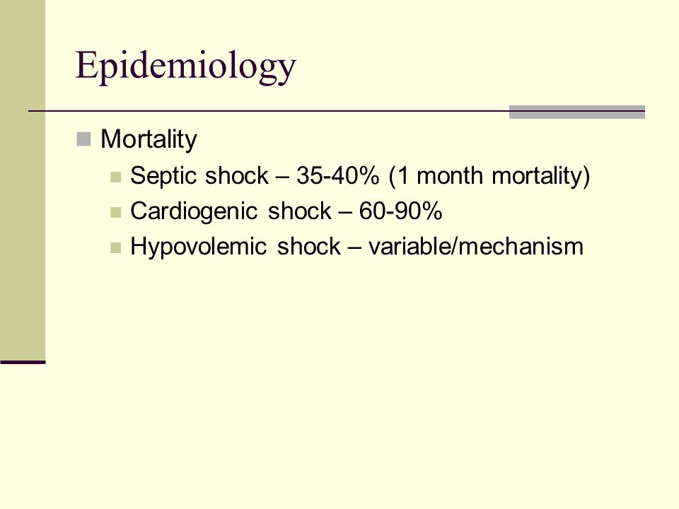 Epidemiology Mortality Septic shock – 35-40% (1 month mortality) Cardiogenic shock – 60-90% Hypovolemic shock – variable/mechanism