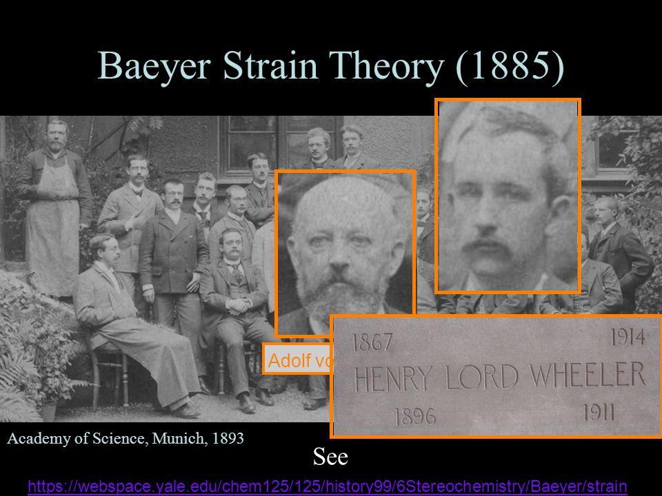 Baeyer Strain Theory (1885) See https://webspace.yale.edu/chem125/125/history99/6Stereochemistry/Baeyer/strain https://webspace.yale.edu/chem125/125/history99/6Stereochemistry/Baeyer/strain l Academy of Science, Munich, 1893 Adolf von Baeyer