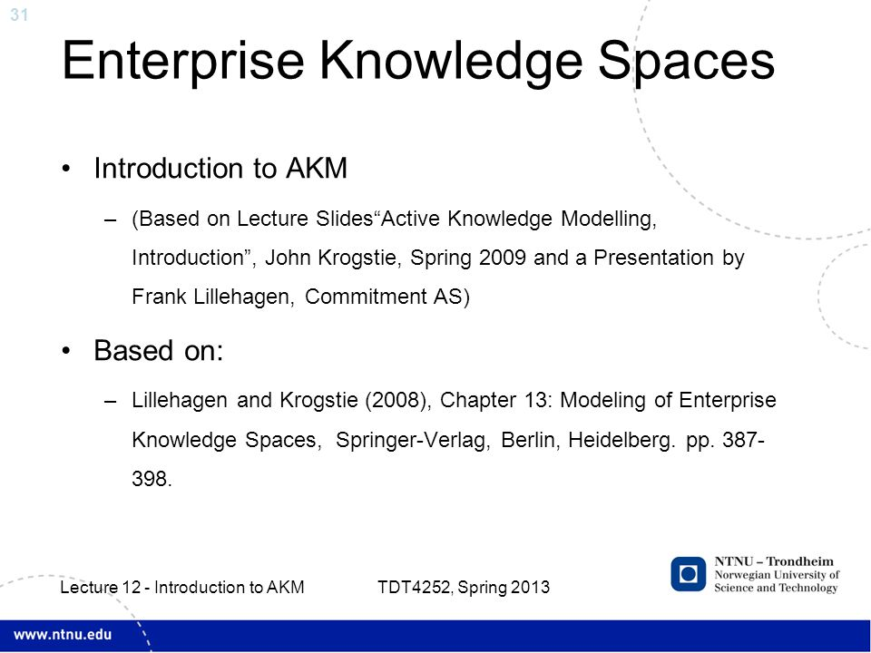 31 Enterprise Knowledge Spaces Introduction to AKM –(Based on Lecture Slides Active Knowledge Modelling, Introduction , John Krogstie, Spring 2009 and a Presentation by Frank Lillehagen, Commitment AS) Based on: –Lillehagen and Krogstie (2008), Chapter 13: Modeling of Enterprise Knowledge Spaces, Springer-Verlag, Berlin, Heidelberg.