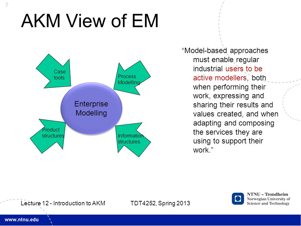 7 AKM View of EM Model-based approaches must enable regular industrial users to be active modellers, both when performing their work, expressing and sharing their results and values created, and when adapting and composing the services they are using to support their work. TDT4252, Spring 2013 Lecture 12 - Introduction to AKM Enterprise Modelling Case tools Product structures Process Modelling Case tools Information structures