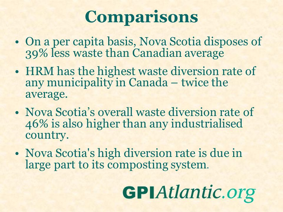 Comparisons On a per capita basis, Nova Scotia disposes of 39% less waste than Canadian average HRM has the highest waste diversion rate of any municipality in Canada – twice the average.