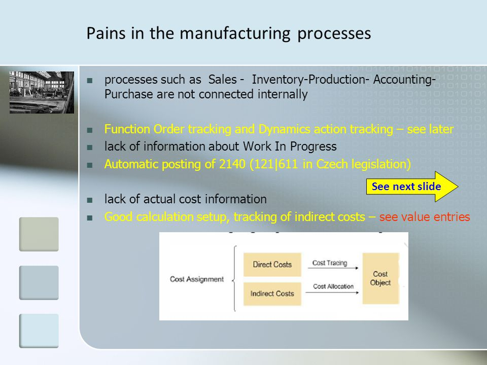 Pains in the manufacturing processes processes such as Sales - Inventory-Production- Accounting- Purchase are not connected internally Function Order tracking and Dynamics action tracking – see later lack of information about Work In Progress Automatic posting of 2140 (121|611 in Czech legislation) lack of actual cost information Good calculation setup, tracking of indirect costs – see value entries See next slide