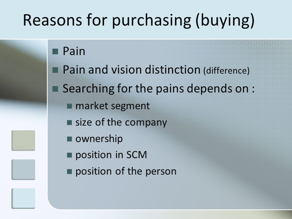 Reasons for purchasing (buying) Pain Pain and vision distinction (difference) Searching for the pains depends on : market segment size of the company ownership position in SCM position of the person