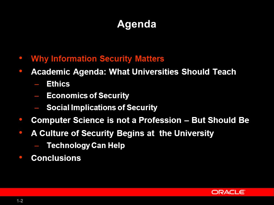 1-23 Conclusions Academia has a critical role to play in securing cyberspace Lead by example –Secure your own networks –Teach ethics and enforce ethical behavior –Practice privacy (don't collect data just because you can) –Become early adopter of security research fruit Help change (sometimes) ignorant/arrogant CS majors into responsible computer engineers Help non-techies to become technically literate on issues of computer security and privacy