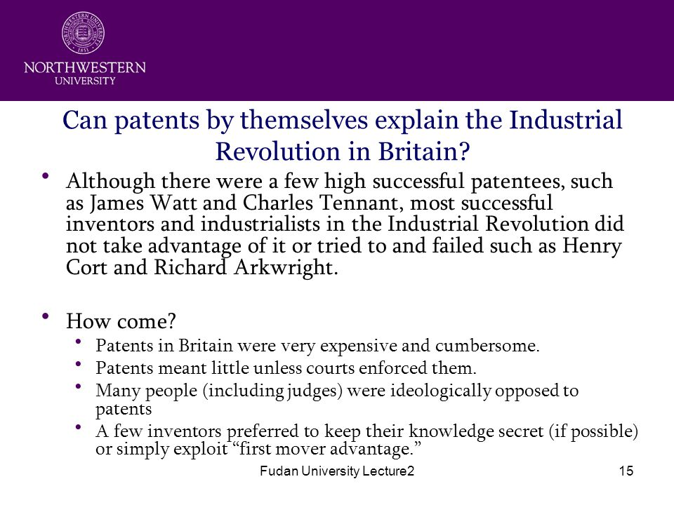 Fudan University Lecture215 Can patents by themselves explain the Industrial Revolution in Britain.