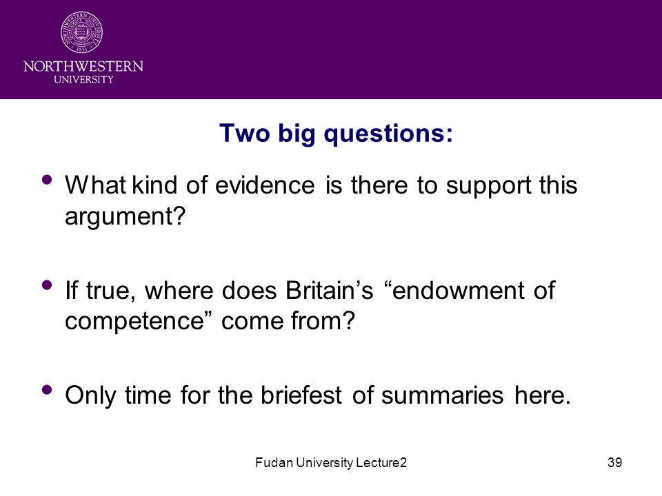 Fudan University Lecture239 Two big questions: What kind of evidence is there to support this argument.
