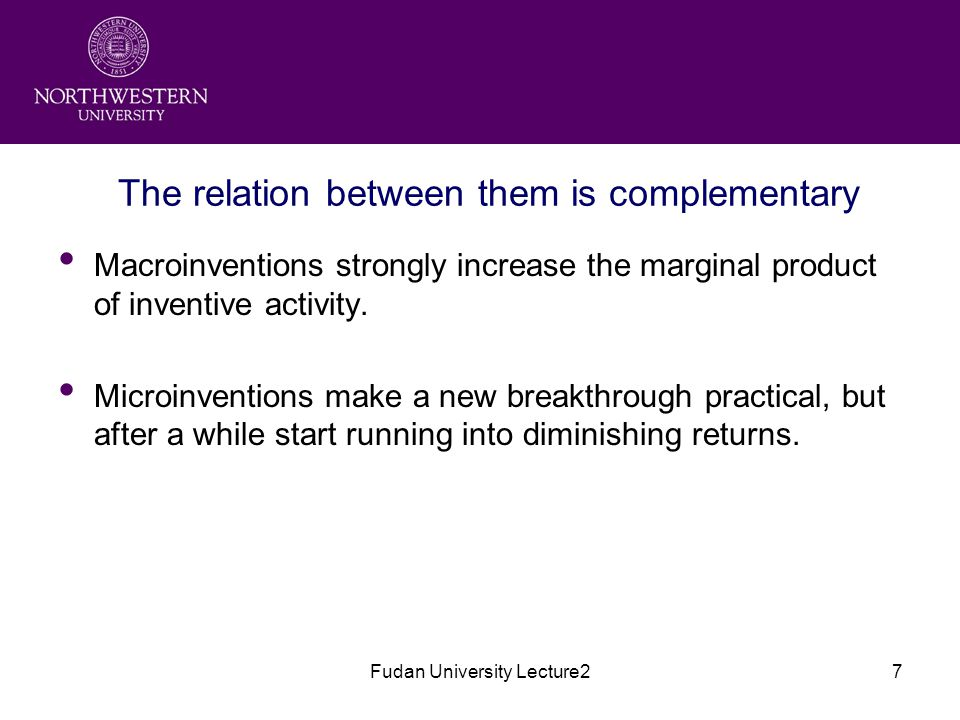 Fudan University Lecture27 The relation between them is complementary Macroinventions strongly increase the marginal product of inventive activity.