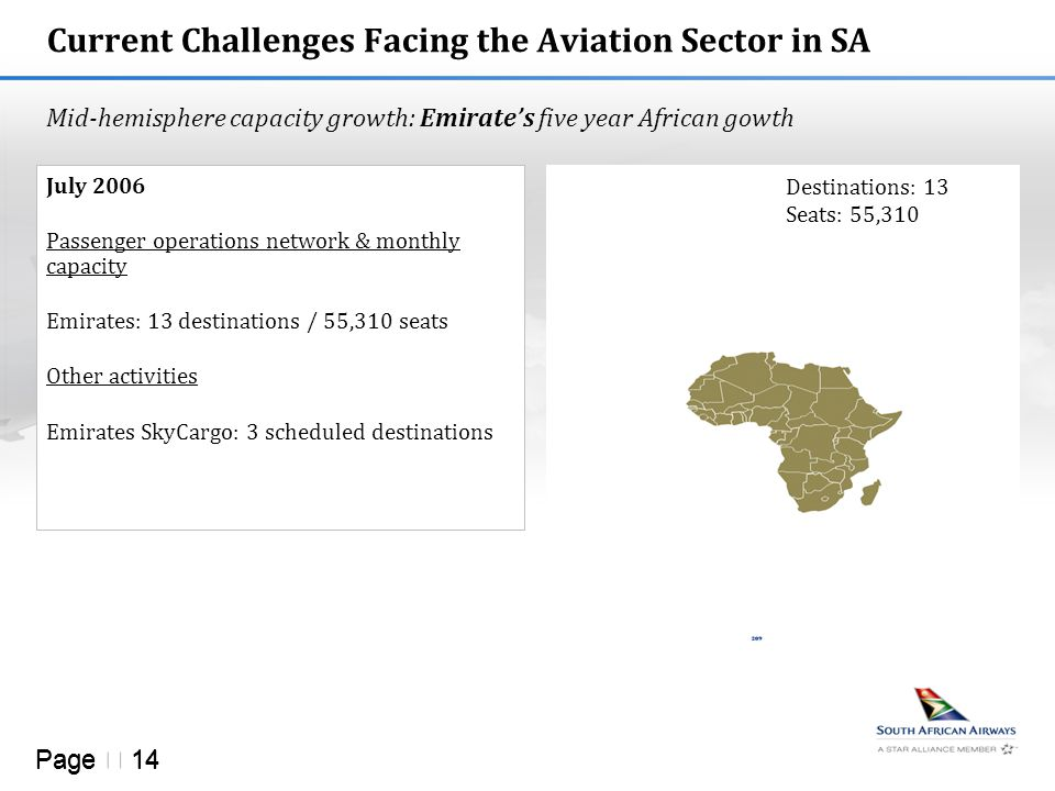 Page  14 Current Challenges Facing the Aviation Sector in SA Mid-hemisphere capacity growth: Emirate's five year African gowth July 2006 Passenger operations network & monthly capacity Emirates: 13 destinations / 55,310 seats Other activities Emirates SkyCargo: 3 scheduled destinations Destinations: 13 Seats: 55,310