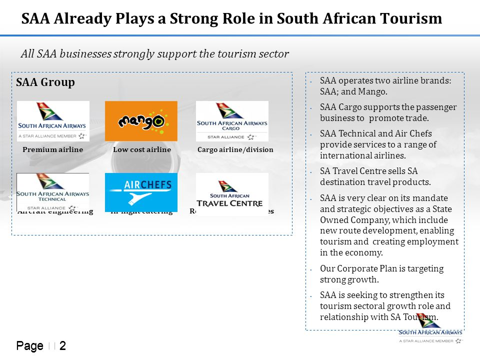 Page  2  SAA operates two airline brands: SAA; and Mango.