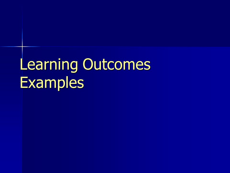 Learning Outcomes Examples