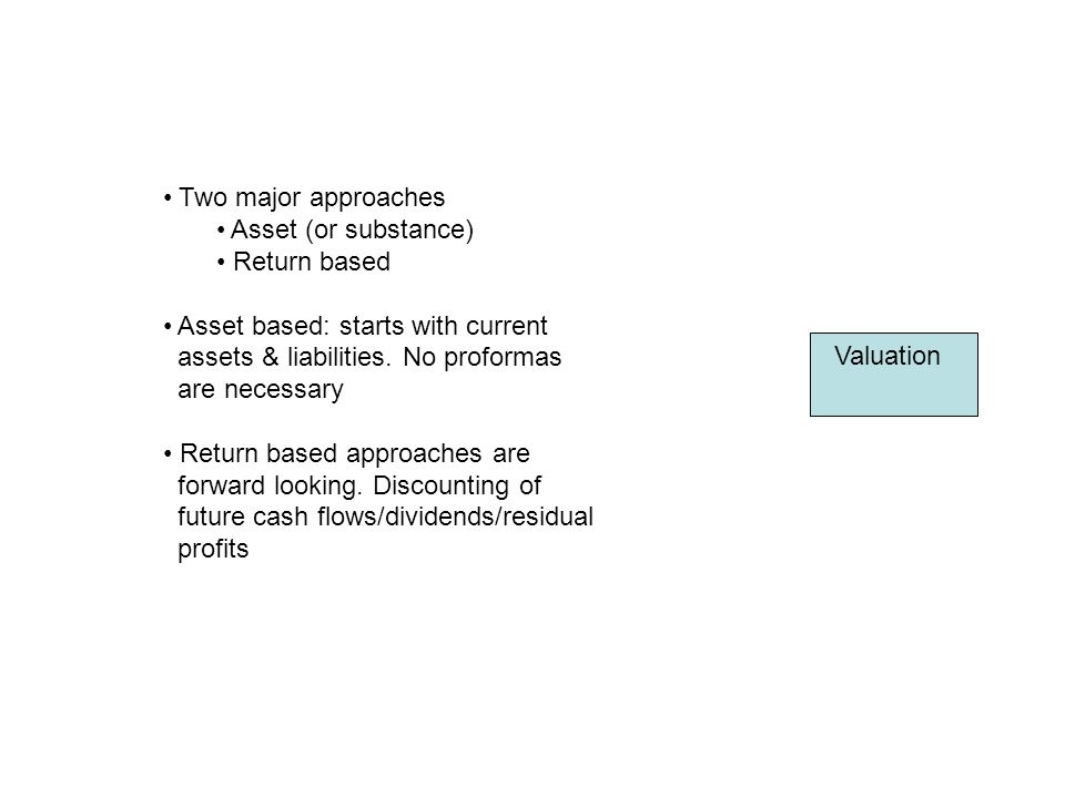 Valuation Two major approaches Asset (or substance) Return based Asset based: starts with current assets & liabilities.