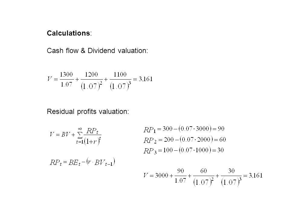 Calculations: Cash flow & Dividend valuation: Residual profits valuation: