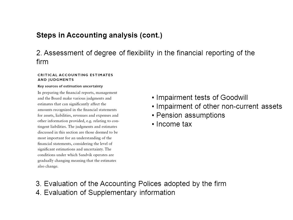 Steps in Accounting analysis (cont.) 2.