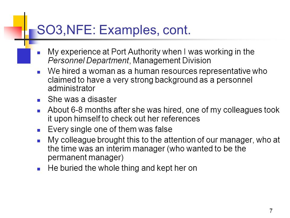 7 SO3,NFE: Examples, cont.