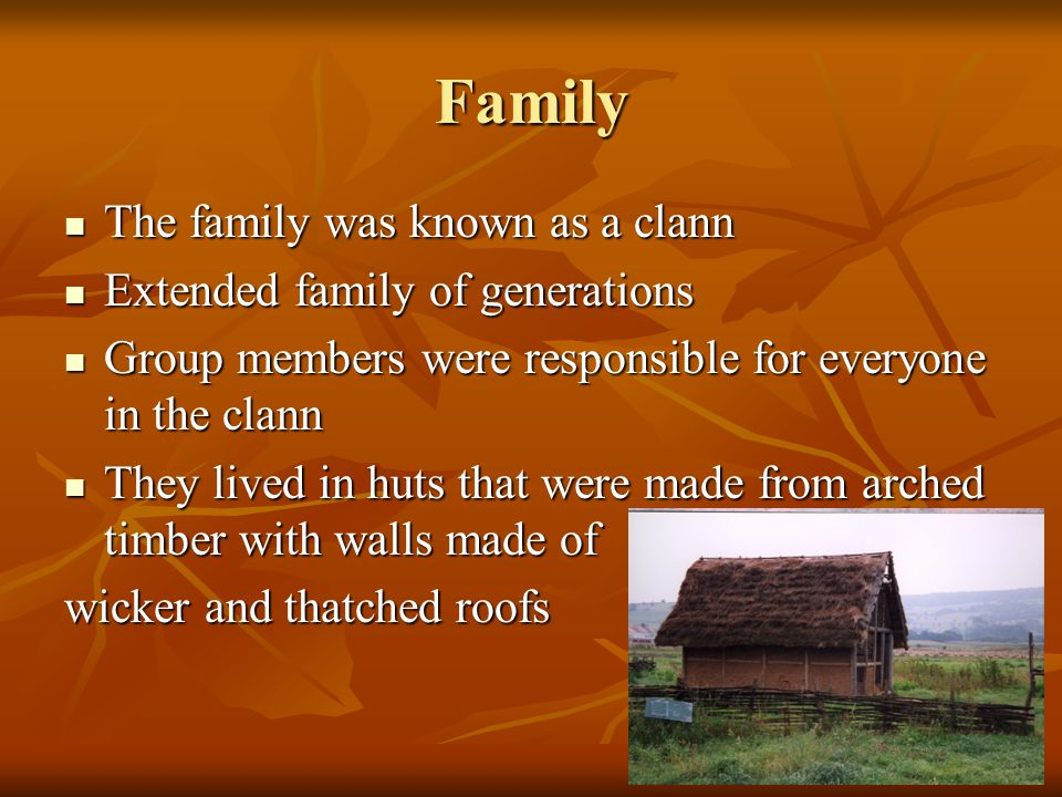 Family The family was known as a clann The family was known as a clann Extended family of generations Extended family of generations Group members were responsible for everyone in the clann Group members were responsible for everyone in the clann They lived in huts that were made from arched timber with walls made of They lived in huts that were made from arched timber with walls made of wicker and thatched roofs