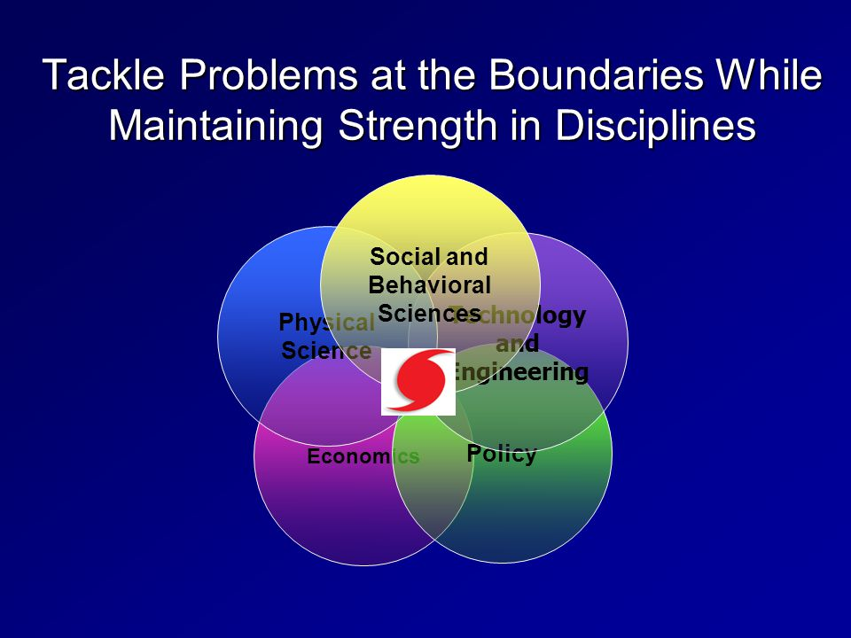 Tackle Problems at the Boundaries While Maintaining Strength in Disciplines Economics Policy Technology and Engineering Physical Science Social and Behavioral Sciences