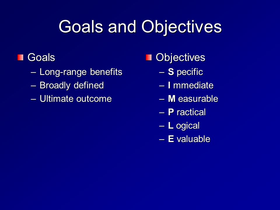 Goals and Objectives Goals –Long-range benefits –Broadly defined –Ultimate outcome Objectives –S pecific –I mmediate –M easurable –P ractical –L ogical –E valuable
