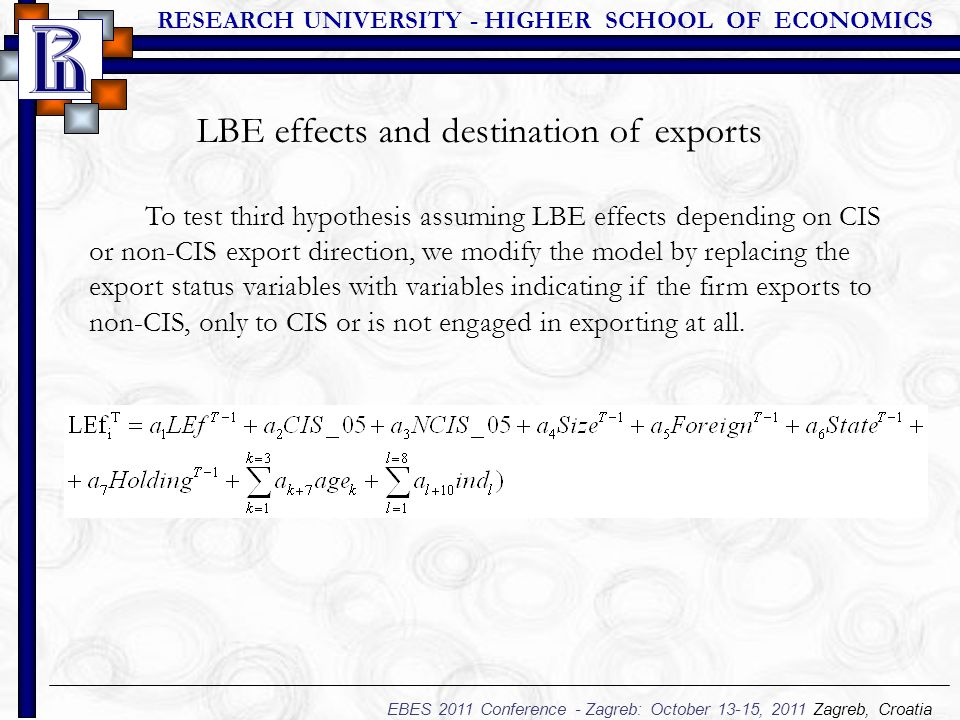 RESEARCH UNIVERSITY - HIGHER SCHOOL OF ECONOMICS EBES 2011 Conference - Zagreb: October 13-15, 2011 Zagreb, Croatia To test third hypothesis assuming LBE effects depending on CIS or non-CIS export direction, we modify the model by replacing the export status variables with variables indicating if the firm exports to non-CIS, only to CIS or is not engaged in exporting at all.
