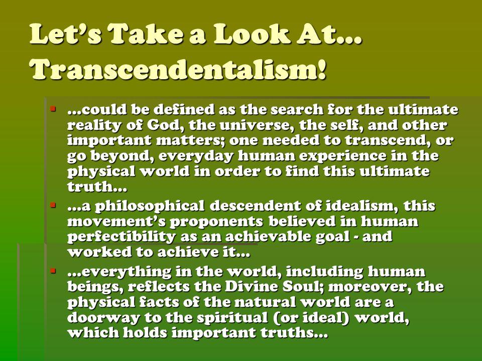 Let's Take a Look At… Transcendentalism.