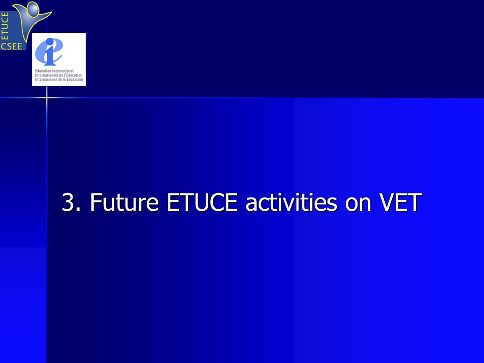 3. Future ETUCE activities on VET