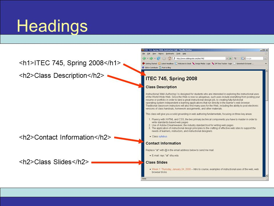 Headings ITEC 745, Spring 2008 Class Description Contact Information Class Slides