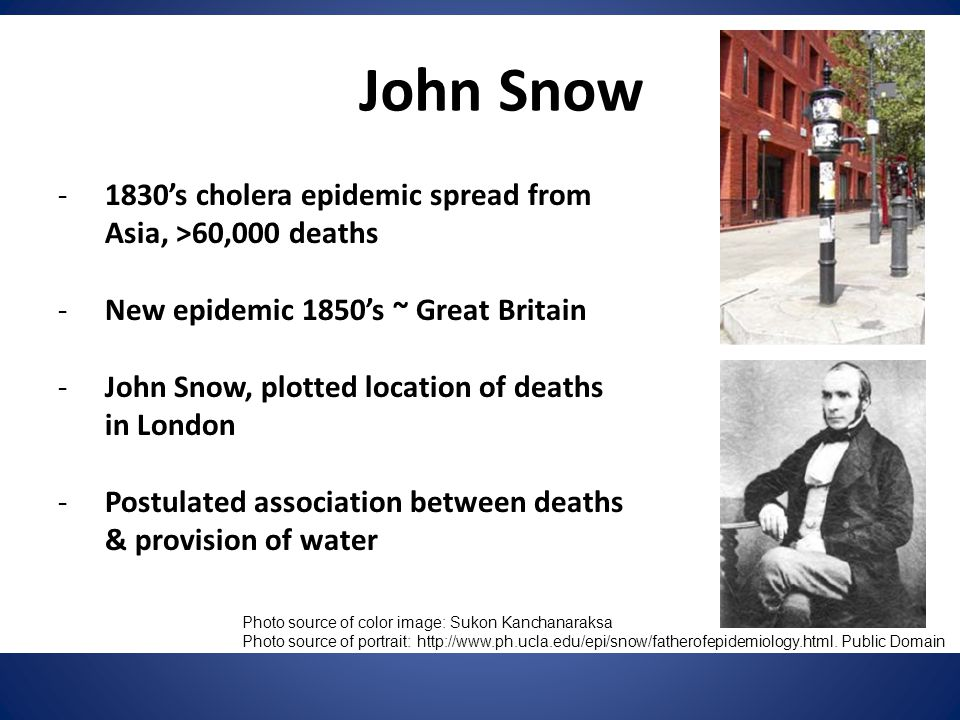 John Snow -1830's cholera epidemic spread from Asia, >60,000 deaths -New epidemic 1850's ~ Great Britain -John Snow, plotted location of deaths in Lon
