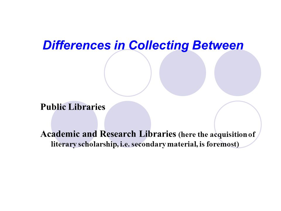 Differences in Collecting Between Public Libraries Academic and Research Libraries (here the acquisition of literary scholarship, i.e.