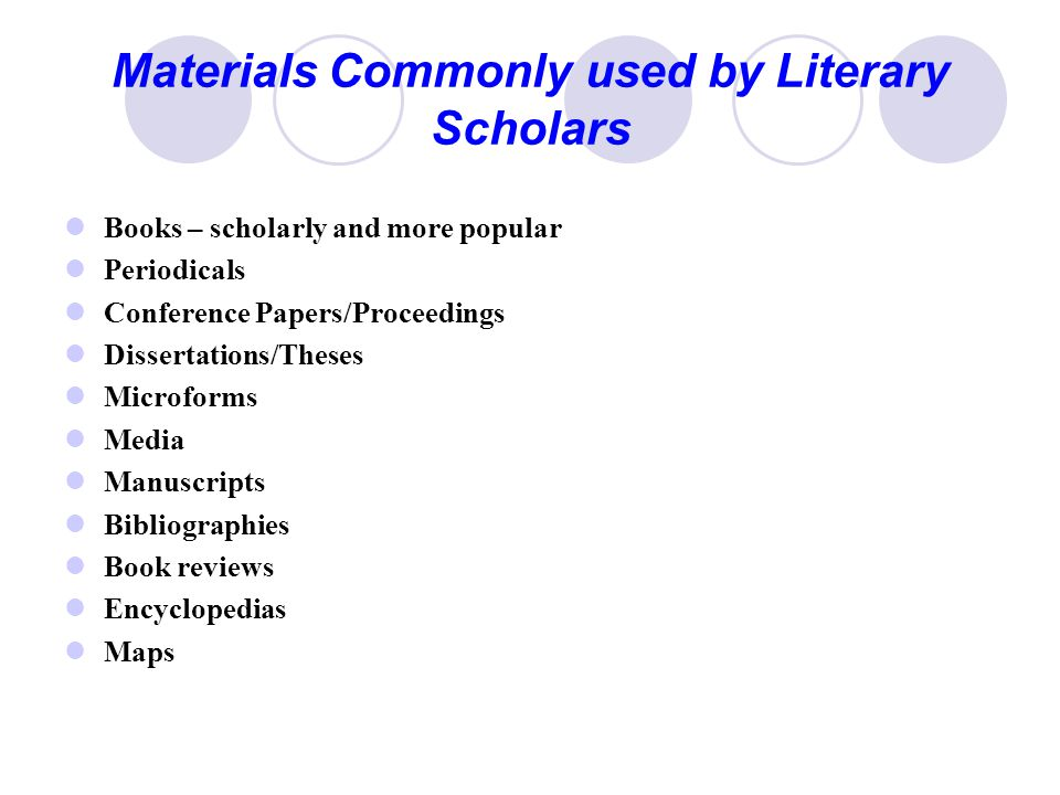 Materials Commonly used by Literary Scholars Books – scholarly and more popular Periodicals Conference Papers/Proceedings Dissertations/Theses Microforms Media Manuscripts Bibliographies Book reviews Encyclopedias Maps