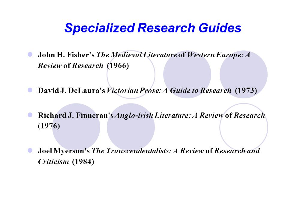Specialized Research Guides John H.