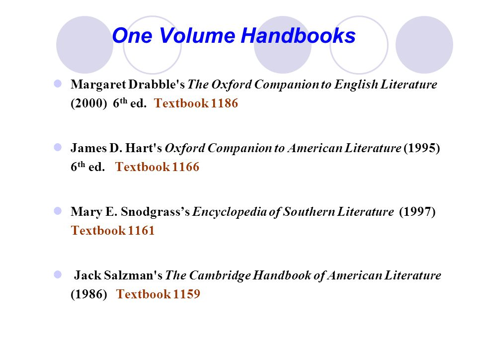 One Volume Handbooks Margaret Drabble s The Oxford Companion to English Literature (2000) 6 th ed.