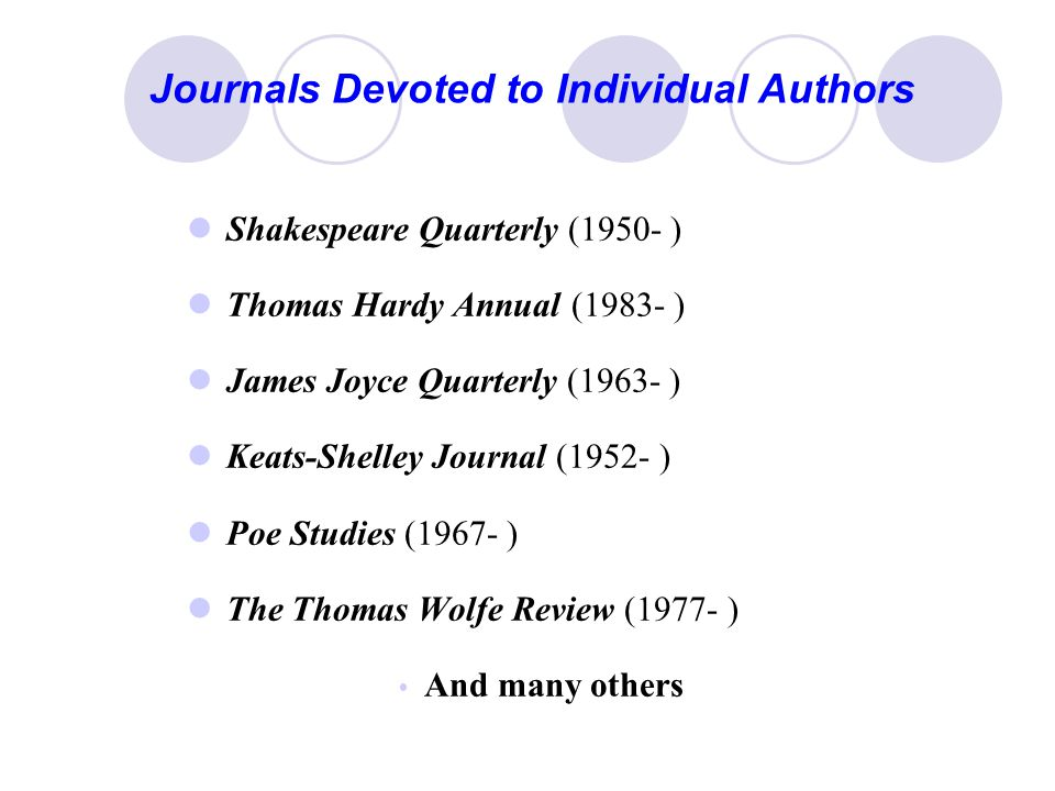 Journals Devoted to Individual Authors Shakespeare Quarterly (1950- ) Thomas Hardy Annual (1983- ) James Joyce Quarterly (1963- ) Keats-Shelley Journal (1952- ) Poe Studies (1967- ) The Thomas Wolfe Review (1977- )  And many others