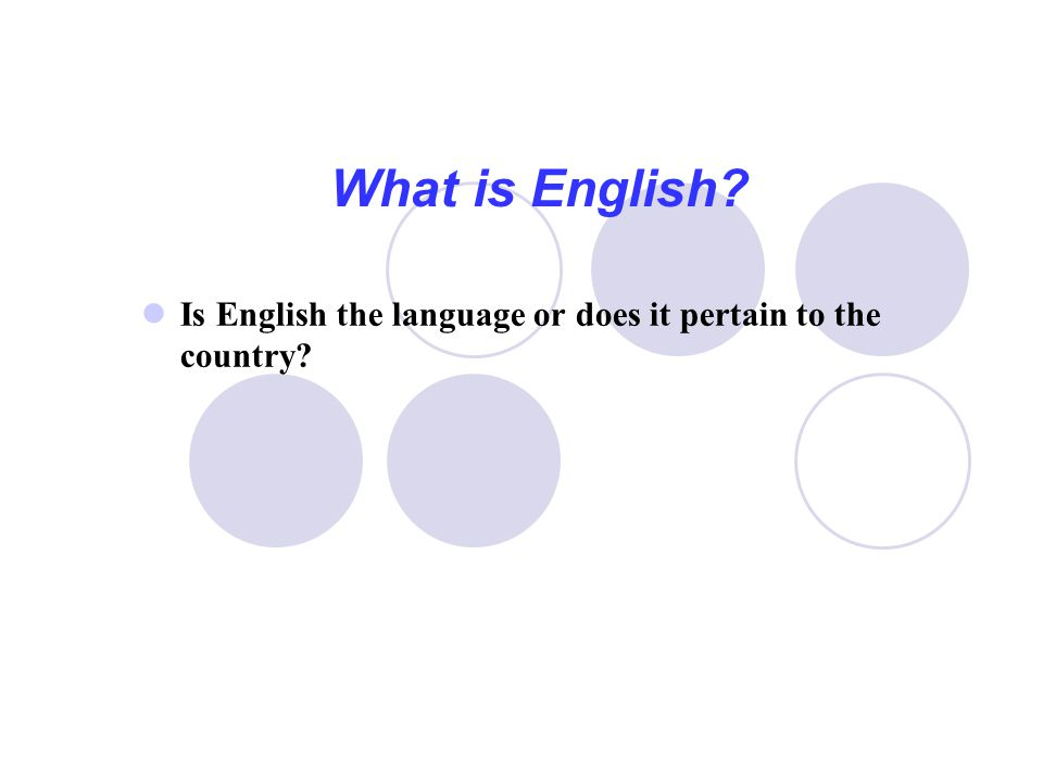 What is English Is English the language or does it pertain to the country