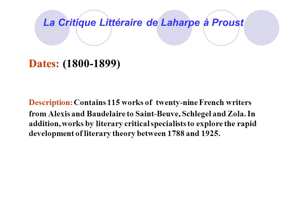 La Critique Littéraire de Laharpe à Proust Dates: (1800-1899) Description: Contains 115 works of twenty-nine French writers from Alexis and Baudelaire to Saint-Beuve, Schlegel and Zola.