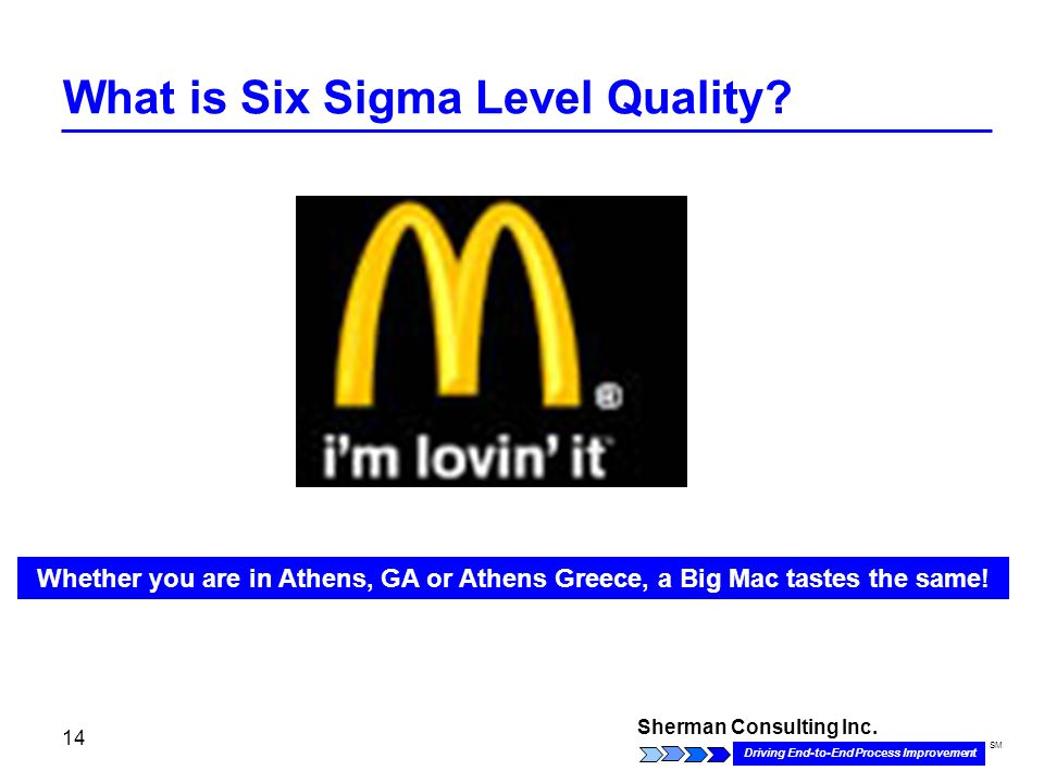 Sherman Consulting Inc. Driving End-to-End Process Improvement SM 14 What is Six Sigma Level Quality? Whether you are in Athens, GA or Athens Greece,