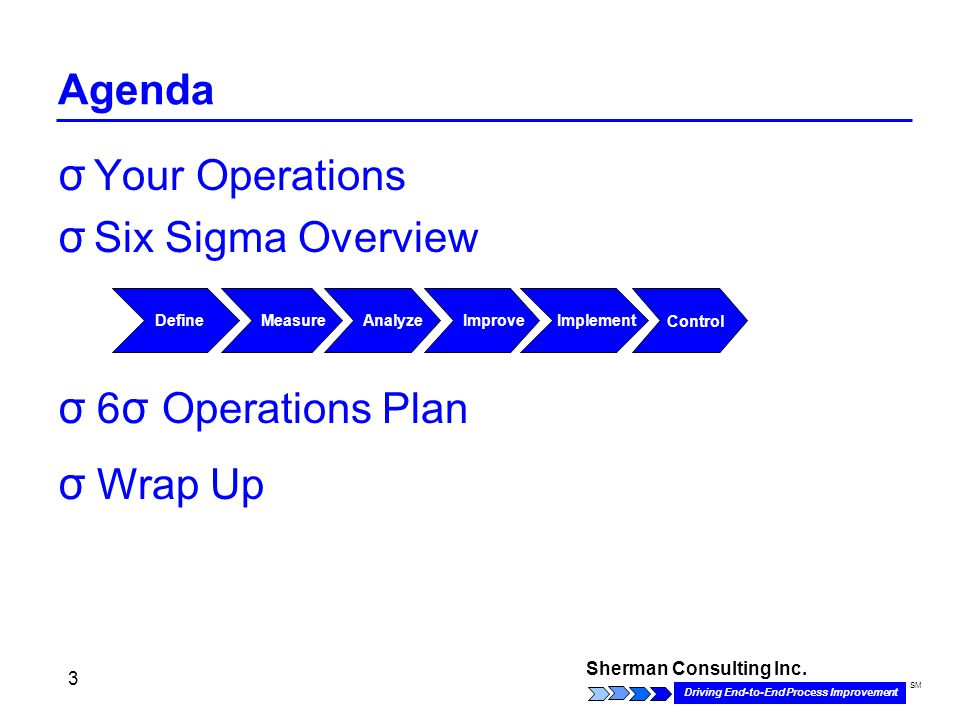 Sherman Consulting Inc. Driving End-to-End Process Improvement SM 3 Agenda σ Your Operations σ Six Sigma Overview Define Analyze MeasureImproveImpleme